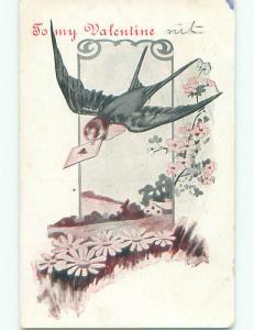 Pre-Linen LARGE BIRD DELIVERS VALENTINE IN BEAK k5854