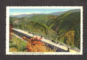 CA Observation Platform Railroad Train Station American California Postcard