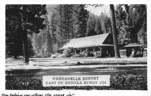 RPPC DARDANELLE RESORT Highway 108 Sonora Pass CA Tuolumne 1949 Vintage Postcard