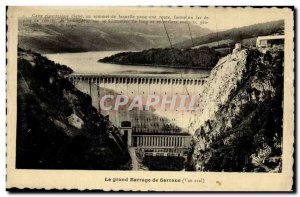 Old Postcard The big dam downstream Sarrans View Electricity