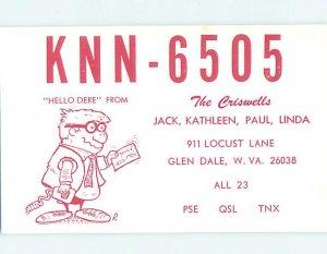 Pre-1980 RADIO CARD - CB HAM OR QSL Glen Dale West Virginia WV AH1575