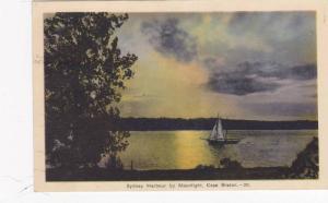 Sailboat, Sydney Harbour By Moonlight, Cape Breton, Nova Scotia, Canada, PU-1937