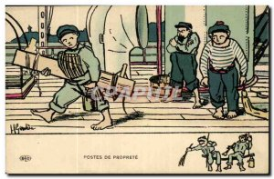 Sailor-Fantasy-Humor-Bateau sets Proprete -Carte Postale Ancienne Illustrator...