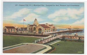 Municipal Pier Ventnor City New Jersey linen postcard