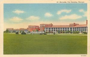 Fort Benning Georgia~Army Base Barracks~1956 Linen Postcard