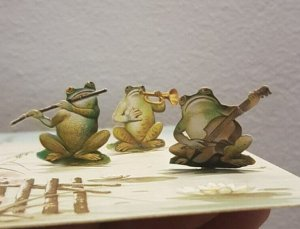 Musical frogs band mechanical fantasy early chromo greetings card
