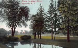 Scene in Wilcox Park, Westerly, Rhode Island, Early Postcard, Unused