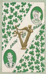 St Patricks Day Greetings - Erin Go Bragh - Harp and Shamrocks - pm 1909 - DB