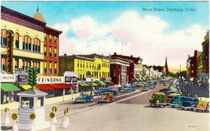 Danbury CT Main Street Feinson's Store 1950s ShiniColor Chrome Postcard