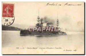 Old Postcard Boat War Charles Martel Breastplate d & # 39escadre has turrets