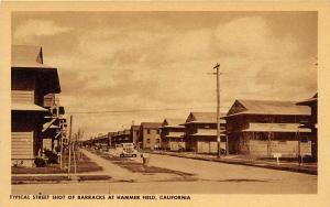 Street Scene Barracks Hammer Army Air Field Fresno California postcard