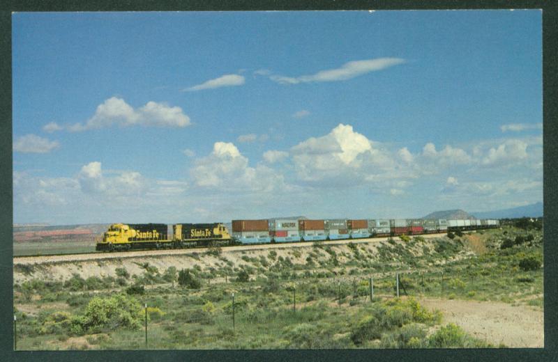 82eb5706fda5 Santa Fe Trailers Double Stacks MAERSK Prewitt New Mexico Railroad Postcard    HipPostcard