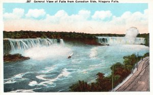 Niagara Falls, NY, View of Falls from Canadian Side, Vintage Postcard h556
