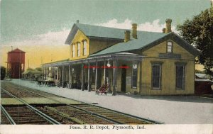 IN, Plymouth, Indiana, Pennsylvania Railroad Train Station Depot, Water Tower