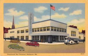 Baltimore Maryland outside Greyhound Bus Terminal linen antique pc Y13099