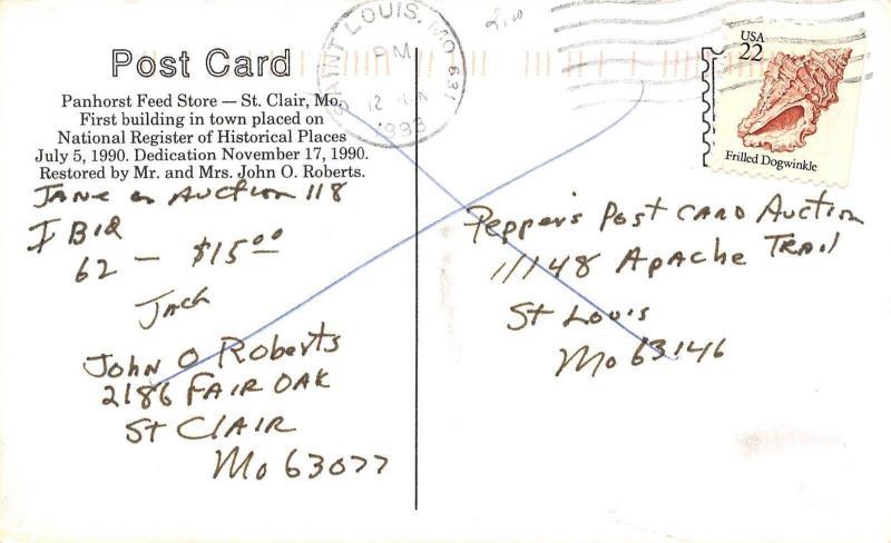 St Clair Missouri~Panhorst Feed Store~1998 Postcard