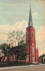 GALION, OH Ohio    PEACE LUTHERAN CHURCH & Street View   1910 Postcard
