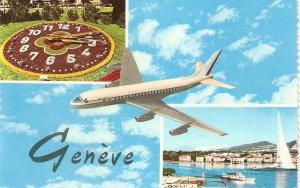 Airplane over Geneve, Switerlnd Nice Swiss postcard 1960s