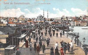 Turkey Old Vintage Antique Post Card Le Pont de Galata Constantinople 1908 Mi...