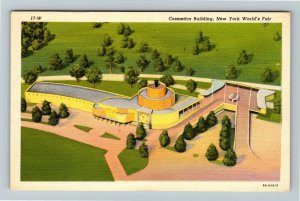 1939 New York World's Fair - The Cosmetics Building - Linen Cancelled Postcard