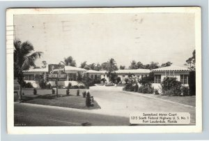 Fort Lauderdale FL Sunnyland Motor Court Chrome Florida c1953 Postcard A6