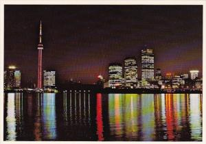 Canada A Beautiful Night View Of The Skyline As Seen From Centre Island Toron...