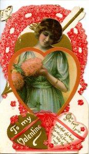 Greeting - Valentine. 3-D Die Cut, Unused.   NOT a postcard