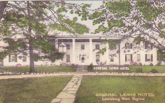 West Virginia Lewisburg General Lewis Hotel Handcolored Albertype