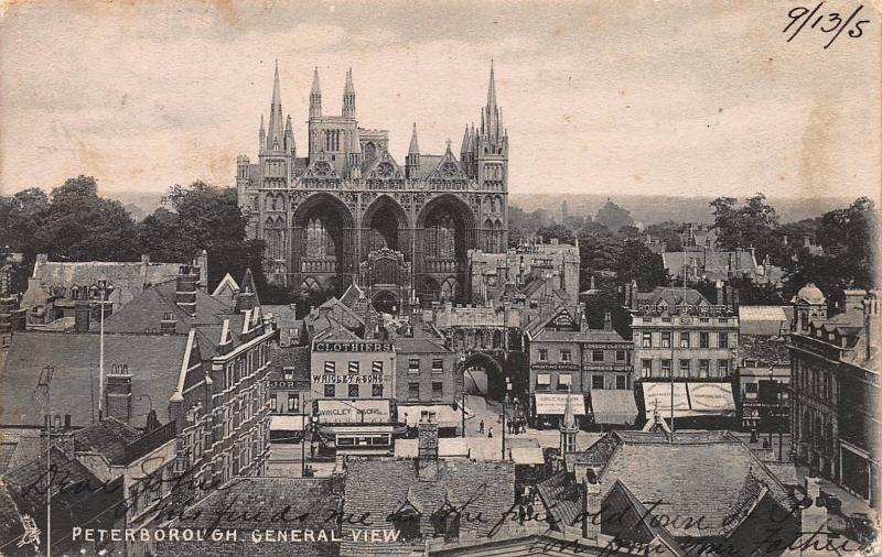 General View, Peterborough, England, Early Postcard, Used in 1905, to Kansas