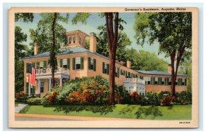 Postcard Governor's Residence, Augusta ME G45