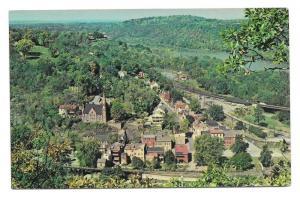 Harpers Ferry WV Aerial View Shenandoah Vtg Postcard