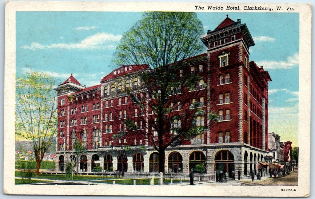 Clarksburg, West Virginia Postcard THE WALDO HOTEL Street View Curteich 1945 / HipPostcard