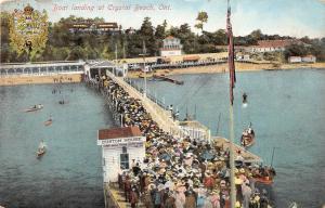 A70/ Crystal Beach Canada Postcard Ontario 1909 Boat Landing Crowd Hotel Customs