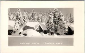 RPPC  TRUCKEE, CA   GATEWAY MOTEL  Lincoln Highway?   c1940s  Roadside  Postcard