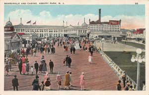 Boardwalk and Casino, Asbury Park,  New Jersey, Early Postcard, Unused