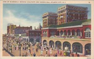 New Jersey Atlantic City View On Boardwalk Showing Chalfonte And Haddon Hall