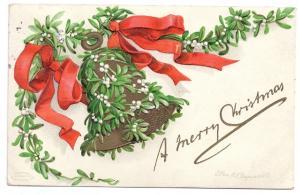 Clapsaddle Mistletoe Bell Vintage Embossed IAP Christmas Postcard 1908