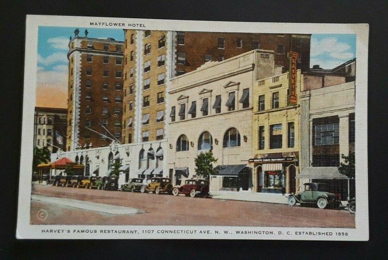 Mint Vintage Washington DC Harvey's Famous Restaurant & Mayflower 1920s Postcard