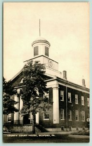 Bedford Pennsylvania~County Court House Close Up~1940s B&W Postcard