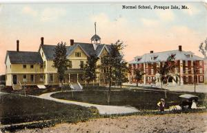 Presque Isle Maine Normal School Bldg Scene Antique Postcard K17010