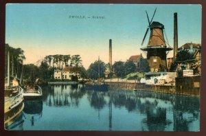 h2464 - NETHERLANDS Zwolle Postcard 1910s Eekwal. Windmill. Boats