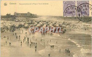 Old Postcard Ostend panoramic view of the beach was the time of the Baths