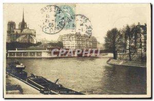Old Postcard Paris Seine to Notre Dame