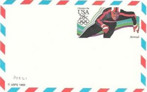 UXC21  Air Mail Postcard  1984 Olympics - Ice Skating