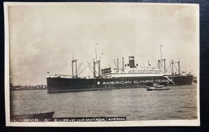 Mint USA Real Picture Postcard SS President Roosevelt American Olympic Team