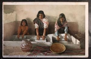 Mint USA PPC Picture Postcard Native Am Indian Grinding Corn Pueblo Of Laguna NM