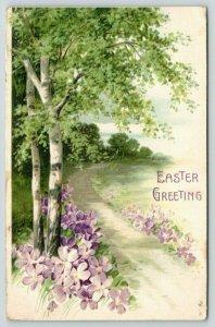 Easter~Lavender Purple Violets on Birch Tree Path~Embossed~Nr 2957/60~Germany