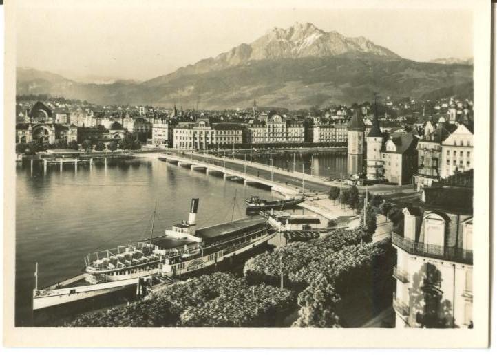 Switzerland, Luezern, Lucerne, Lake-bridge and Pilatus Mini Photo