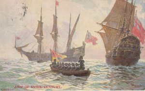Ships Of 17th Century Antique Portsmouth Painting Postcard