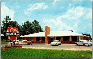 Griffin, Georgia Postcard CAPRI Restaurant Highway 41 Roadside Chrome c1950s